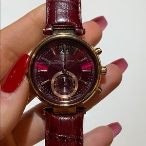 Michael Kors Sawyer Burgandy Leather Watch